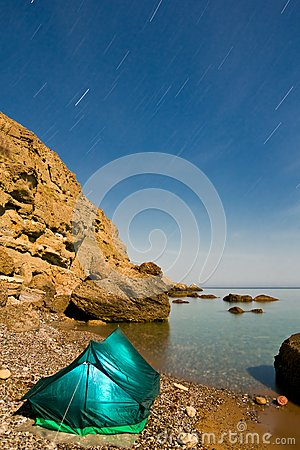 Touristic tent on a sea coast