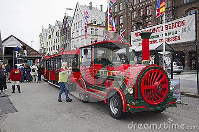 Touristic train in Bergen, Norway Editorial Image