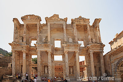 Tourists admiring Celsus Library Ephesus Editorial Photo