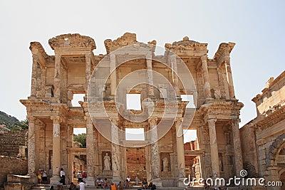 Tourists admiring Celsus Library Ephesus Editorial Photo