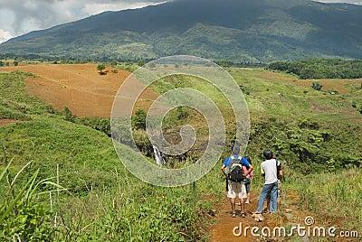 Tourists admiring landscape
