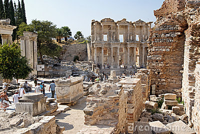 Tourists in ancient Roman city of Ephesus Turkey Editorial Stock Image
