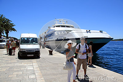 Tourists Arriving in Hvar Croatia Editorial Stock Photo