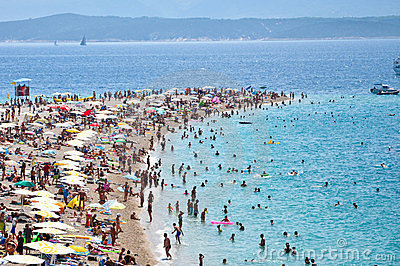 Tourists, Beach, Bol Island, Croatia - 2011 Editorial Image