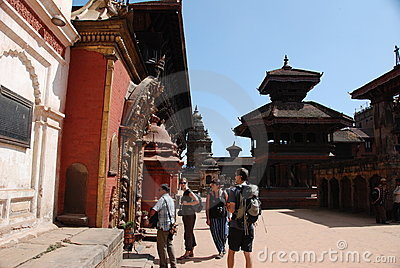 Tourists in Bhaktapur square -  Nepal Editorial Stock Image