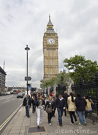 Tourists at Big Ben Editorial Photo