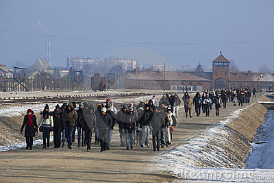 Tourists - Birkenau Concentration Camp - Poland Editorial Image