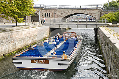 Tourists boat in Copenhagen Editorial Stock Photo