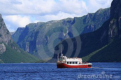 Tourists on Boat at Western Brook Pond Editorial Stock Image