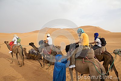 Tourists on the camels Editorial Image