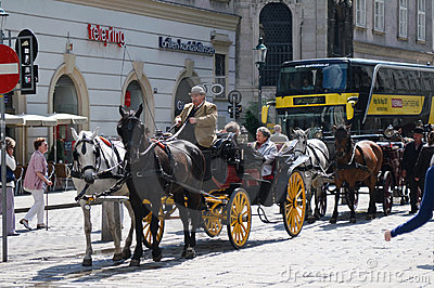 Tourists in carriage visiting Vienna Editorial Photo