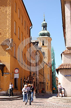 Tourists at the Castle Square in Warsaw Editorial Image