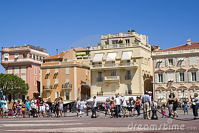 Tourists in central square in Monaco-Ville Editorial Stock Photo