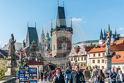 Tourists on Charles Bridge Editorial Image