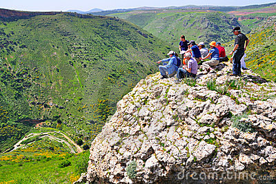 Tourists on cliff edge, Israel Editorial Photography