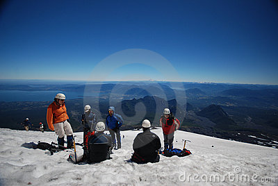 Tourists climbing on a mountain Editorial Photography