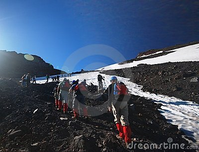 Tourists climbing on a mountain Editorial Image