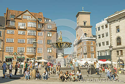 Tourists in Copenhagen. Editorial Stock Photo