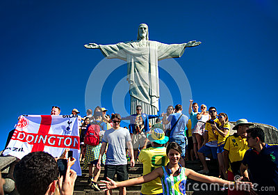 Tourists on the Corcovado Hill visiting the Christ Editorial Photo