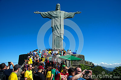 Tourists on the Corcovado Hill visiting the Christ Editorial Photography
