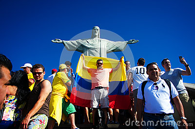 Tourists on the Corcovado Hill visiting the Christ Editorial Stock Photo
