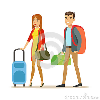 Tourists couple with travel bags. People traveling colorful cartoon character vector Illustration Vector Illustration