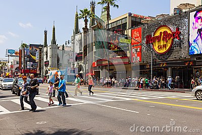 Tourists crossing the street in Hollywood Editorial Stock Photo