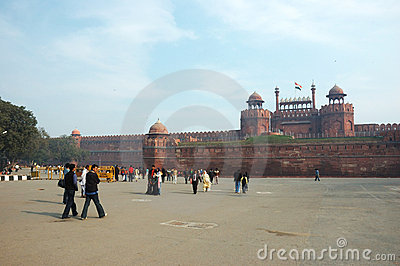 Tourists crowd at the entrance to Red Fort,India Editorial Stock Photo