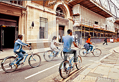 Tourists cycling in London Editorial Image