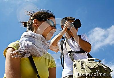 Tourists in desert Wadi Rum. Jordan