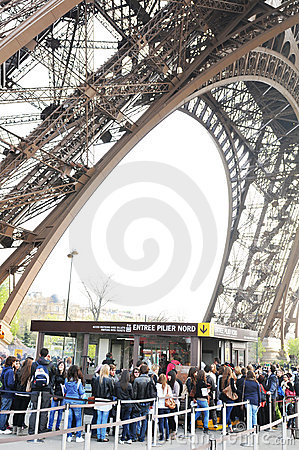 Tourists at Eiffel Tower Editorial Stock Image