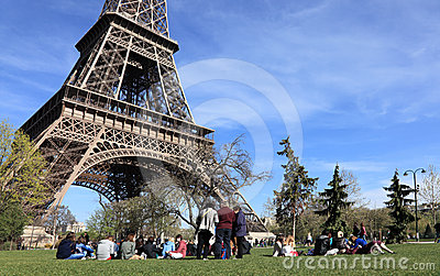 Tourists at the Eiffel Tower Editorial Stock Image