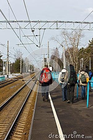 Tourists on an electric train platform