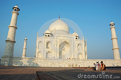 Tourists are enjoying Taj Mahal view,great monument listed as UNESCO World Heritage Editorial Stock Photo