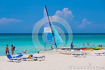Tourists enjoying Varadero beach in Cuba Editorial Stock Photo