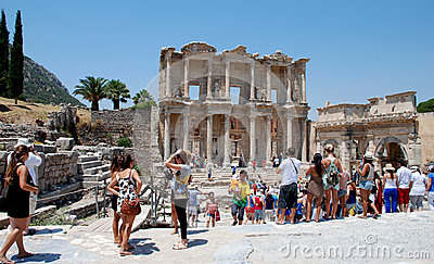 Tourists at Ephesus, Izmir, Turkey Editorial Photography