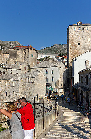 Tourists on Famous Old Bridge in Mostar, Bosnia Editorial Photography