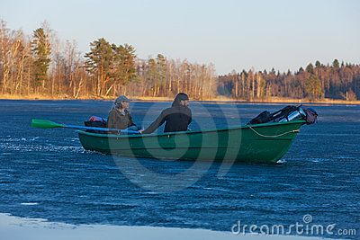 Tourists float through ice