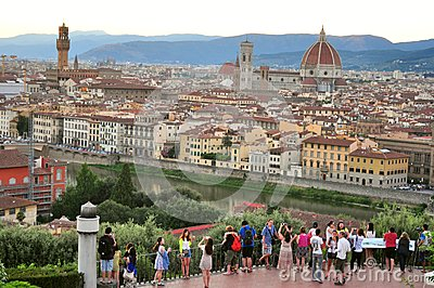 Tourists in Florence city, Italy Editorial Stock Image