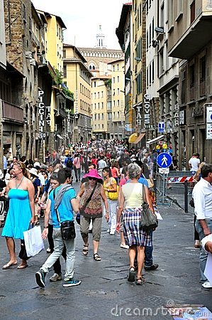 Tourists in Florence, Italy Editorial Photography