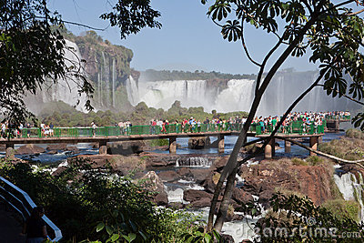 Tourists in Foz do Iguassu Park Editorial Stock Image