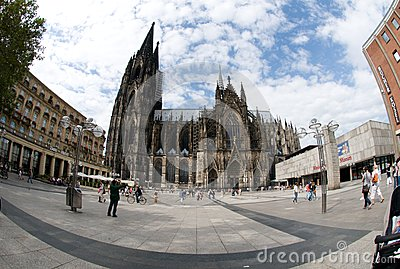 Tourists in front of Cologne Cathedral Editorial Photo