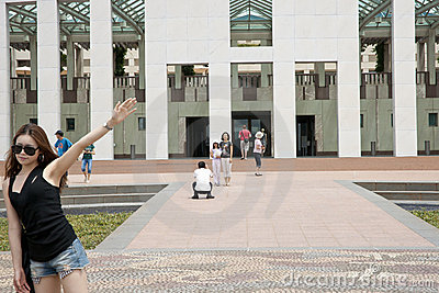 Tourists in front of Parliament Building, Canberra Editorial Photo