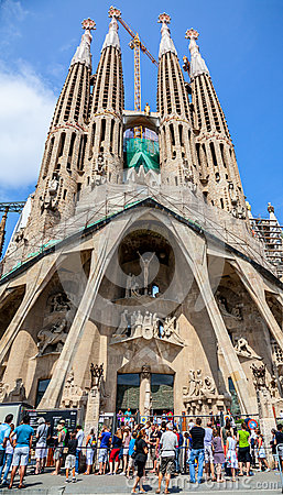 Tourists in Front of Sagrada Familia in Barcelona Editorial Photography