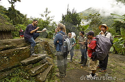 Tourists get history lesson on Ciudad Perdida Editorial Stock Image