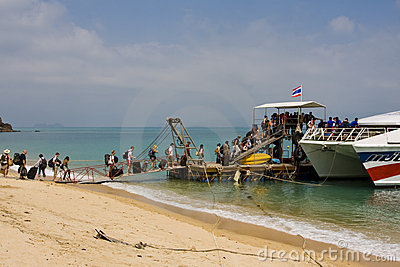 Tourists go on a boat floating on the Phangan Editorial Photography