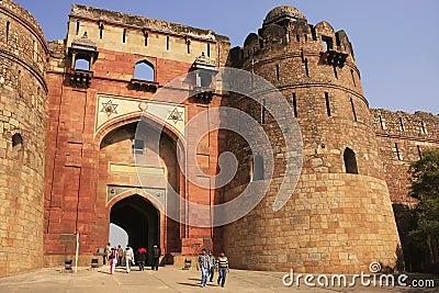 Tourists going through Bara Darwaza, Big gate of Purana Qila, New Delhi Editorial Image