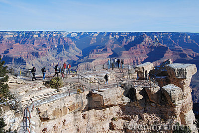 Tourists at Grand Canyon overlook