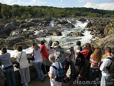Tourists at Great Falls Maryland Editorial Stock Photo