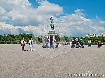 Tourists at Hofburg gardens Editorial Photo
